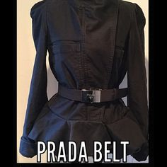 "PRADA Nero Nylon Belt %Authentic PRADA Nero nylon belt with silver buckle. 36 1/2"" long, Excellent condition no scratches % Authentic. The jacket (Isabel Marant) is also for sale in my closet Prada Accessories Belts"