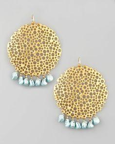 Devon Leigh Pearl & Gold Plate Filigree Earrings - Neiman Marcus