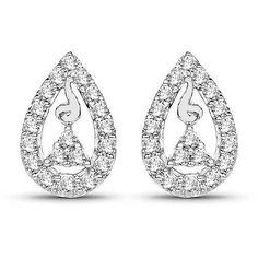 0.39 Carat Genuine White Diamond 14K White Gold Earrings (G-H Color, SI1-SI2 Clarity)
