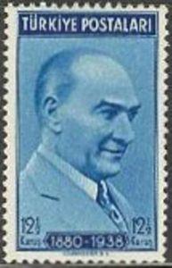 Turkey Stamp - Mustafa Kemal Ataturk, President, 1936 1939