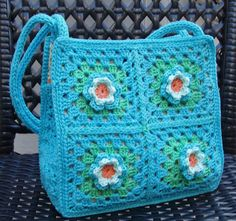 Granny Square Bag with flowers for Littl