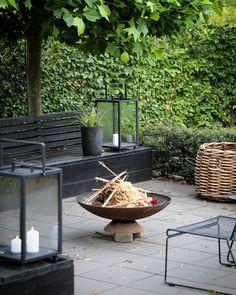 """biehl on Instagram: """"Der sker lidt nyt i haven hvert år og denne sommer har vi tilføjer nye lanterne og borde i loungen. Aftenhygge med disse store lanterne er…"""" Black Garden, Instagram, Lantern, Summer Recipes"""