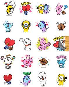 BT21_Messenger Kawaii Stickers, Cute Stickers, Printable Stickers, Planner Stickers, Bt 21, Tumblr Stickers, Bts Drawings, Funny Drawings, Line Friends