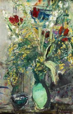 Mimosa and Tulips   -    Sigmund Joseph Menkes  Polish 1896-1986  oil on canvas, 64 x 42 cm