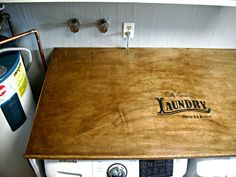 Laundry Room Redo - DIY Laundry Folding Table - Little Vintage Cottage Laundry Folding Tables, Laundry Room Tables, Laundry Shelves, Furniture Makeover, Home Projects, Diy Home Decor, New Homes, Cottage, Dining Tables