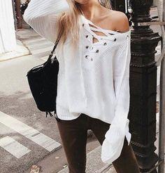 Acacia Lily Brooke Lace Up Sweater - $45