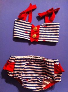 Blue Chevron Swimsuit for Baby Girls  Nautical by BearCoveBoutique, $38.50
