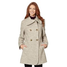 The Collection Natural split neck boucle coat- at Debenhams.com