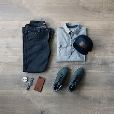 Hat:Little King Goods //Shirt:Dakota Grizzly //Denim:Neo Blue Jeans //Sneakers:Bullboxer (similar) //Watch:Vaer Adventure Watch // iPhone Case:Haxford // Cologne:Bawston & Tucker //Socks:Ties.com Jeans And Sneakers, Blue Sneakers, Black Jeans Men, Blue Jeans, Mens Fashion 2018, Men's Fashion, Fashion Ideas, Outfit Grid, Brown Wallet