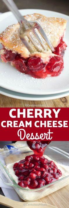 Cherry Cream Cheese Dessert - CentsLess Meals Cherry Cream Cheese Bake Recipe, Cream Cheese Cheesecake, Cream Cheese Desserts, Cream Cheese Recipes, Cheesecake Desserts, Cream Cheeses, Cherry Desserts, Cherry Recipes, Easy Desserts