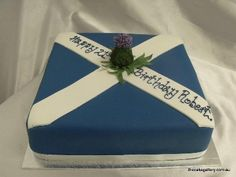"Amazing ""Scottish Flag"" cake with a thistle Themed Wedding Cakes, Themed Cakes, Celtic Food, Outlander, Great British Food, Flag Cake, Family Cake, Fantasy Cake, Cake Pictures"