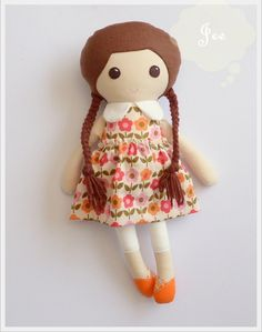 16.5 inches Fabric Doll with Removable Skirt / Cloth by JEEoliver, $32.00