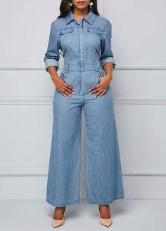 Cheap jumpsuits rompers Jumpsuits & Rompers online for sale Long Sleeve Denim Jumpsuit, Black Jumpsuit, Blue Jumpsuits, Jumpsuits For Women, Fashion Jumpsuits, Facon, African Fashion, Rompers, Fashion Outfits
