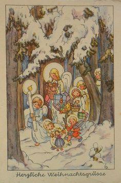 Ruthild BUSCH SCHUMANN - ENGEL mit Geschenken laufen durch den Schnee - 1937 | eBay