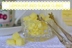 I will definitely have to try these. Recipe: Lemon Infused Sugar Cubes - Worthing Courthttp://www.worthingcourtblog.com/2013/05/lemon-infused-sugar-cubes-recipe.html
