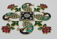 meenakari work metal rangoli/ home decor/Diwali rangoli /floor decoration/ new year gift by ArihantCreations Diwali Decorations At Home, Festival Decorations, Wedding Decorations, Designs Rangoli, Beautiful Rangoli Designs, Diwali Craft, Diwali Rangoli, Pooja Rooms, Hobby Ideas