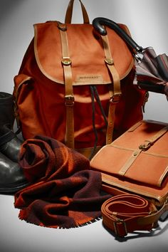 MEN'S ACCESSORIES IN ORANGE HUES FOR BURBERRY F/W12