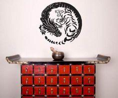 Asian Art Wall Stickers :: Tiger Dragon Yin Yang Wall Decal