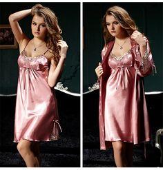 Ali8203_08 Satin Sleepwear, Sleepwear Women, Nightwear, Silk Chemise, Silk Gown, Lingerie Outfits, Women Lingerie, Satin Dresses, Sensual