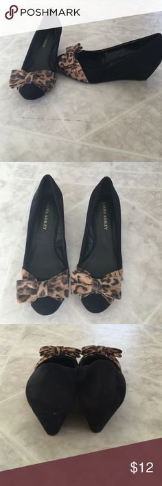 Black & Leopard Wedge Shoes Super cute 2 inch wedge shoes only worn a few times. Laura Ashley Shoes Wedges