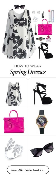 """""""Spring Chic"""" by jasminezavaleta on Polyvore featuring Chicwish, Casadei, Yves Saint Laurent, Olivia Burton, Christian Dior, Givenchy, Marc Jacobs and Christian Louboutin"""