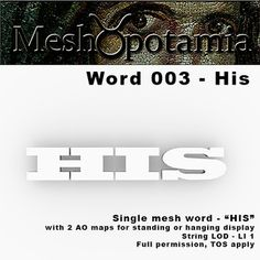 Single mesh word with one texture face 2 AO maps included for hanging or standing display *******************************************************.