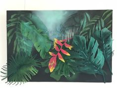 Heliconia tropical in metal mesh