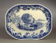 Monumental Copeland Flow Blue Porcelain Turkey Platter, - Cowan's ...