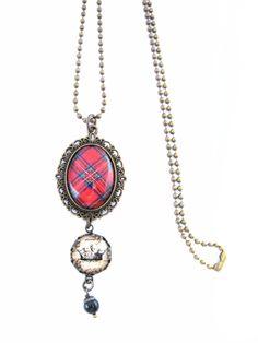Scottish Tartan Jewelry - Ancient Romance Series - Royal Stewart Tartan Necklace w/Royal Crown Charm & Mystic Black Swarovski Crystal Charm by DivaDesignsInc on Etsy