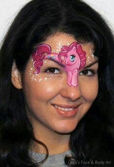 Pinkie Pie My Little Pony face painting design.