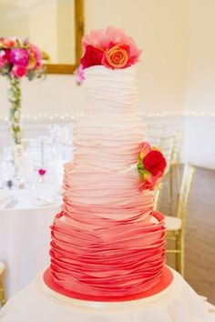 red ombre wedding cake | love the look of this, but in my colors: peach, gold, tiffany blue