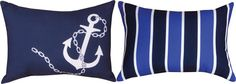 Anchors Away Nautical Navy and White Indoor/Outdoor Reversible Fabric Pillows (Set of 2)