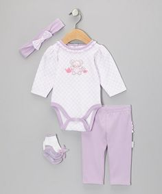 Look at this #zulilyfind! Lilac Mouse Bodysuit Set - Infant by Vitamins Baby #zulilyfinds