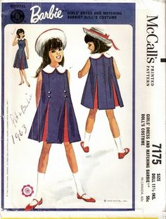 McCall's 7175 © Thought by some experts to be an unmarked Helen Lee design. Childrens Sewing Patterns, Doll Clothes Patterns, Vintage Sewing Patterns, Clothing Patterns, Sewing Clothes, Vintage Kids Clothes, Vintage Girls Dresses, Vintage Children, Retro Outfits