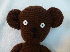 Mr Bean style teddy bear.  Hand knitted. Complete by Chalkstring