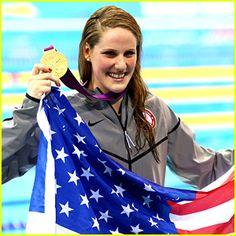 Gold medal winner Missy Franklin during the medal ceremony for the Women's 100m Backstroke. Go Missy!