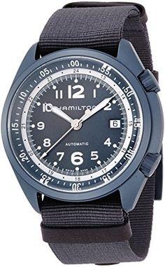 Hamilton Men's 'Khaki Aviation' Swiss Automatic Metal and Canvas Dress Watch, Color:Blue (Model: H80495845) -- Visit the image link more details.