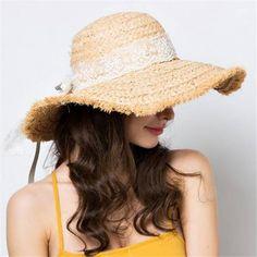 abd63a344a3 Frayed straw hat with lace bow ladies wide brim raffia sun hat beach wear. Summer  Hats ...