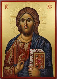 Jesus Christ Pantokrator (halo relief)Hand-Painted Greek Orthodox Icon
