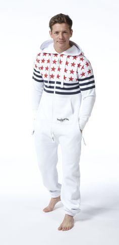 79707db7f3f Snuggaroo Men s White USA Stars Stripes Onesie OnePiece One Piece Jumpsuit