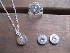 357 Bullet Jewelry Set with Earrings, Necklace and Ring with Swarovski Crystal Accents - Small Thin Cut - Classic
