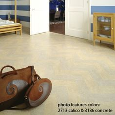 entry way flooring marmoleum idea (calico & concrete herringbone pattern)