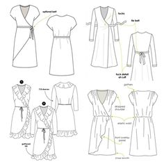Indie, Darling: Best Wrap Dress Patterns – Helen's Closet It's about time for another pattern roundup post! I love bringing all the indie pattern options for a certain garment type or style together so I can evaluate my options thoroughly. Dress Sewing Patterns, Clothing Patterns, Apron Patterns, Wrap Dress Patterns, Fashion Patterns, Best Wraps, Shirt Dress Pattern, Knit Wrap, Faux Wrap Dress