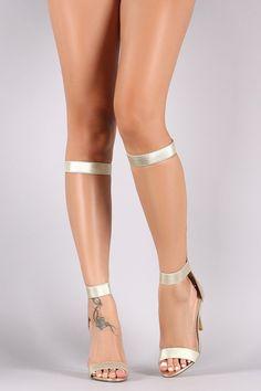 Liliana Metallic Elasticized Straps Stiletto Gladiator Heel – Style Lavish