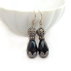 Black & Antiqued Silver Earrings - Romantic Victorian Style Faceted Glass Earrings - Silver Filigree - Downton Abbey Style - Free Shipping by RockStoneTreasures on Etsy https://www.etsy.com/listing/119415552/black-antiqued-silver-earrings-romantic