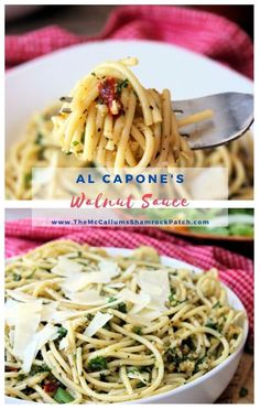 Al Capone's Walnut Sauce is a deliciously flavorful straightforward vegetarian-style recipe made with cold-pressed organic olive oil, fresh garlic, walnuts, fresh Italian flat-leaf parsley, crushed red pepper, salt, and pepper and tossed with al dente spaghetti noodles. Sauce Recipes, Pasta Recipes, Beef Recipes, Vegetarian Recipes, Healthy Recipes, Fall Recipes, Dinner Recipes, Cooking Recipes, Best Italian Recipes