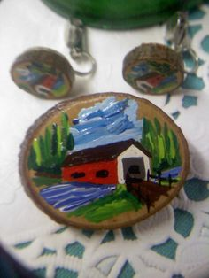 Vintage Folk Art Hand Painted Red covered bridge on real wood slices Brooch with clip earrings http://vintagejewelrybygramz.ecrater.com/p/19549403/vintage-hand-painted-red-covered