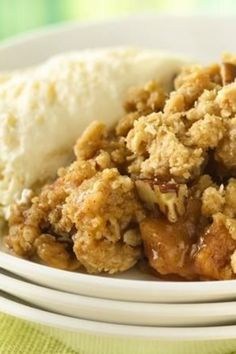 Warm spiced apple crisp made easy with cookie mix!