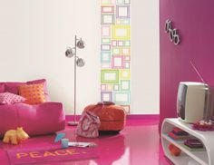 Brightly coloured frames feature on this fun wallpaper mural and would be great in a kids bedroom! From the Trendy Panels collection, Expo TDP64582255. This is a Guthrie Bowron exclusive range in NZ.