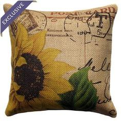 Adorned with a sunflowers motif, this handmade burlap pillow adds a pop of charm to your bedroom or living room.  Product: PillowConstruction Material: Burlap coverColor: Yellow, red, green and brownFeatures: Handmade by TheWatsonShopZipper enclosureMade in the USAInsert included Cleaning and Care: Spot clean